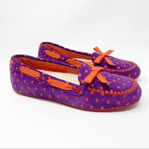 UGG Purple & Red I Heart Belle Suede Moccasin Slippers Size 6